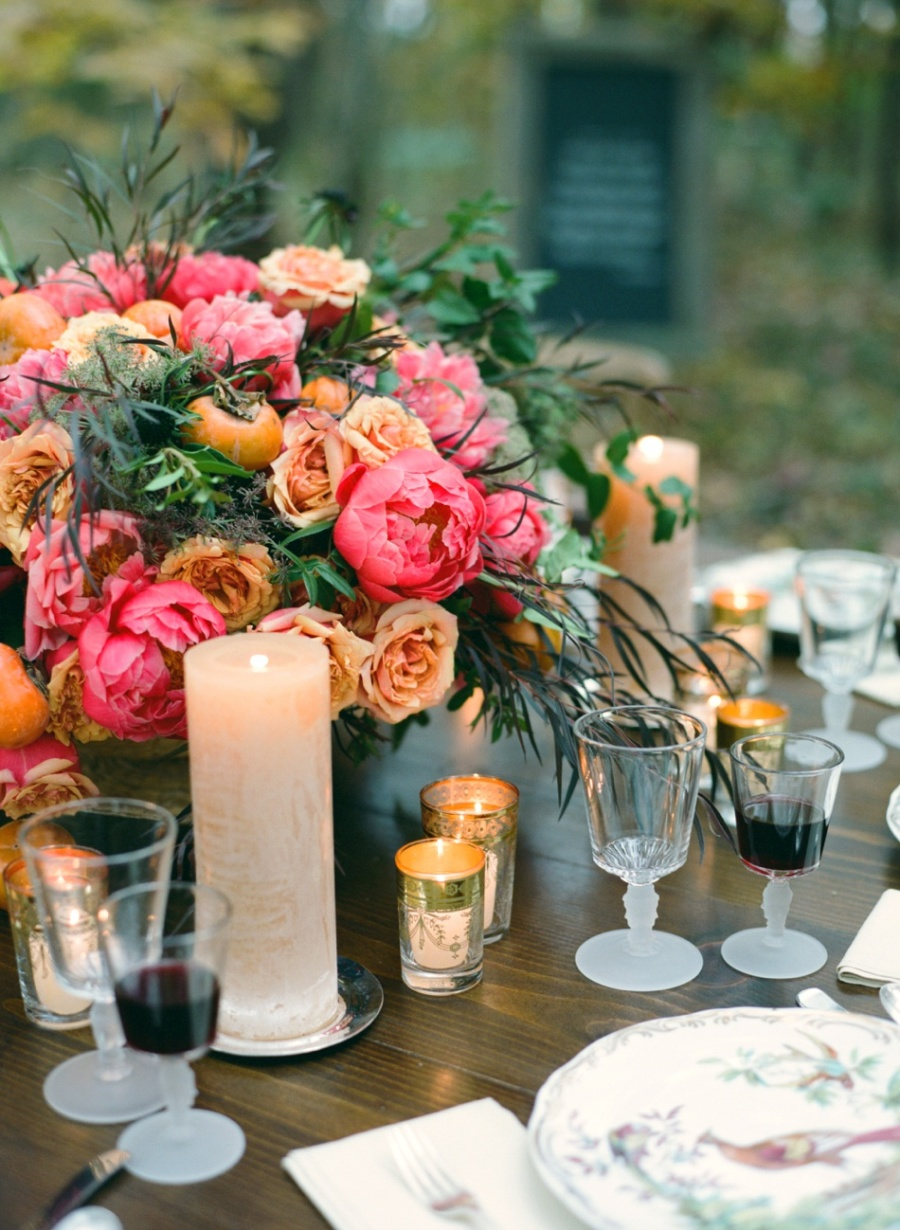 persimmon and peony thanksgiving centerpiece