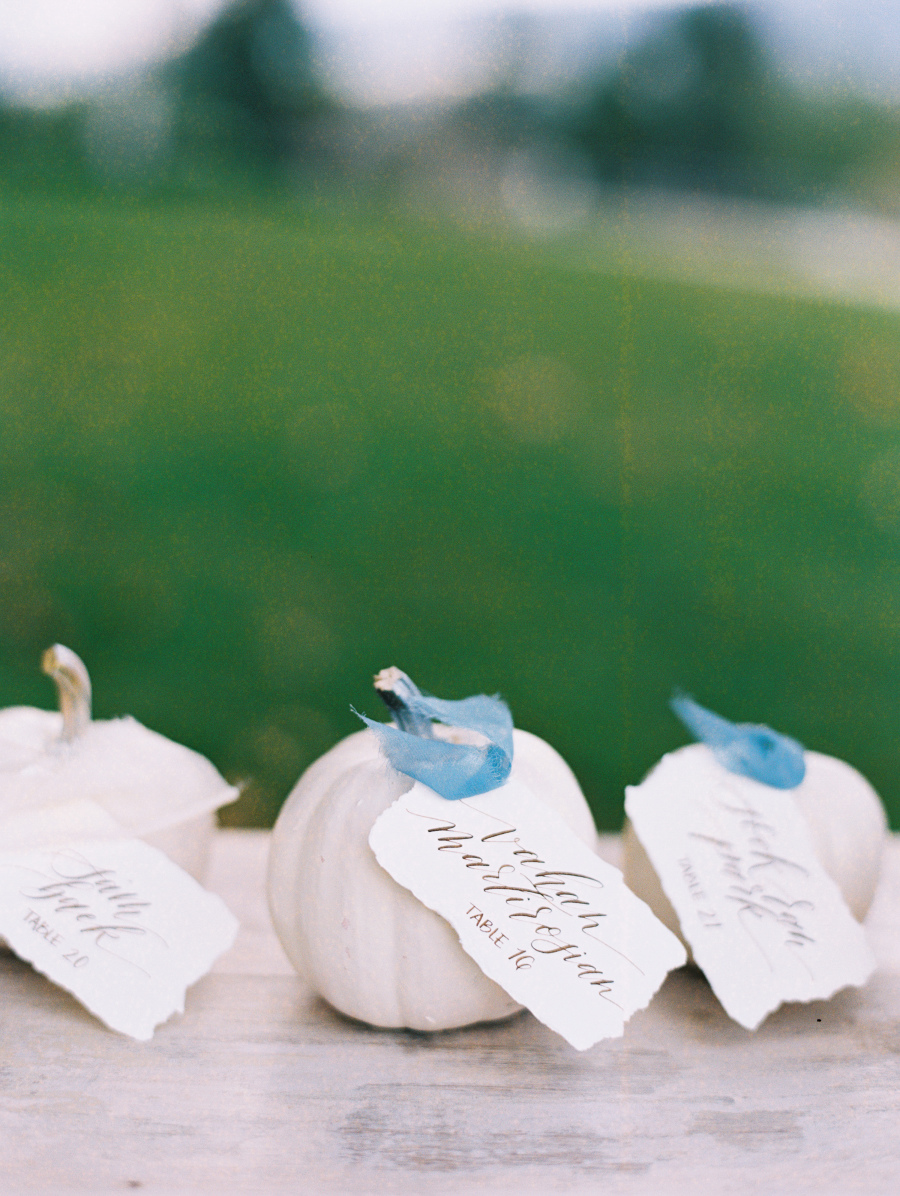 pumpkin placecard holders French country Thanksgiving