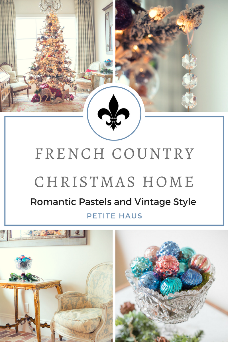 French country Christmas decor with romantic pastels and antique/vintage style