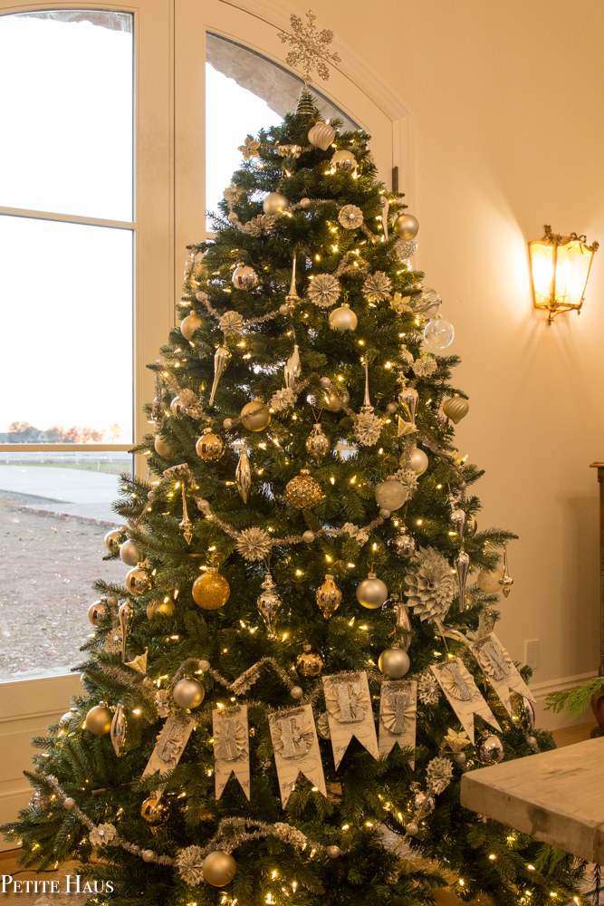 Metallic Gold and Silver Christmas Tree