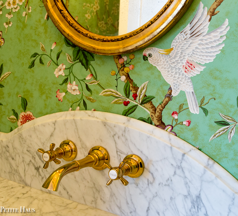 French Country Chinoiserie Powder Room with Brass Wall Mounted Faucet