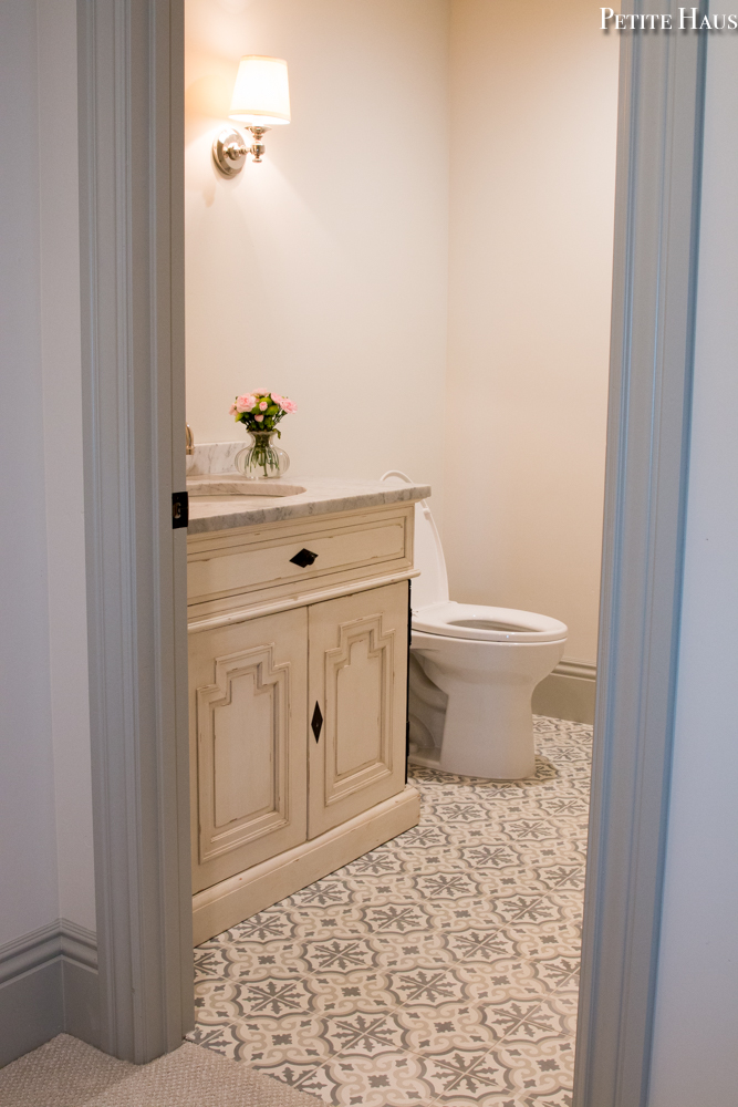 French cement tile bathroom