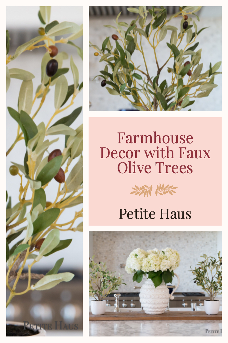 Farmhouse Decor with Faux Olive Tree Topiaries