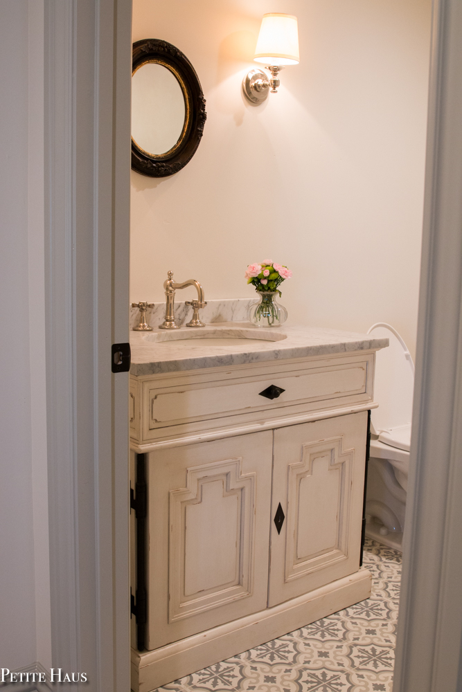 French Farmhouse Bathroom With Cement Tile Petite Haus