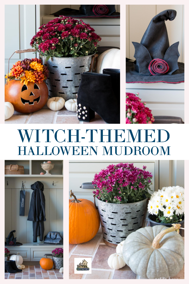 witch themed halloween mudroom decorating idea